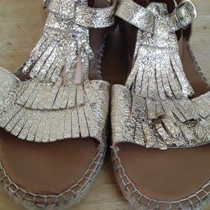 Anthropologie Maypol Gold Metallic Fringe Sandals